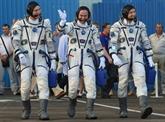 Trois spationautes, un Russe, un Italien et un Américain sont arrivés à lISS