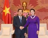 La présidente de lAssemblée nationale du Vietnam reçoit des hôtes du Laos