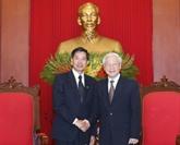 Le secrétaire général Nguyên Phu Trong reçoit le maire de Vientiane