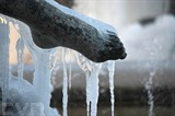 De la glace entoure le pied d'une statue à Rome, le 9 janvier. Photo : AFP/VNA/CVN
