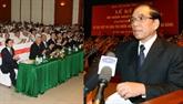 Nông Duc Manh avec les cadres de l'organisation d'édification du PCV