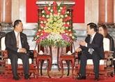 Truong Tân Sang reçoit le président du Parlement national du Myanmar