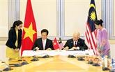 Vietnam et Malaisie établissent un partenariat stratégique