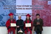 France-Vietnam : remise du diplôme du Master DPEA 2017 à Hanoï