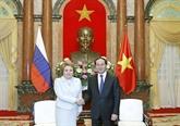 Le président de la République reçoit la présidente du Conseil de la Fédération de Russie