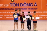 Tennis de table : République de Corée et Thaïlande dominent le tournoi «Raquette d'or»