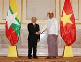 Entretien entre Nguyên Phu Trong et le président du Myanmar, Htin Kyaw