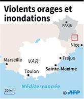 Violents orages et inondations dans le Var: au moins une personne disparue