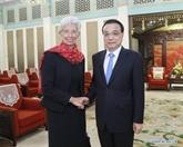 Le Premier ministre chinois rencontre la directrice générale du FMI