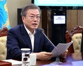 Le président sud-coréen appelle à la détermination de Trump et Kim