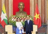 Le président Trân Dai Quang reçoit la conseillère d'État du Myanmar