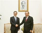 Le vice-PM Truong Hoa Binh reçoit le président de la Cour populaire suprême chinoise