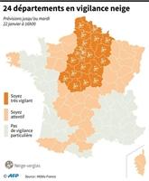 Vingt-quatredépartements en vigilance orange neige, sept activent le plan