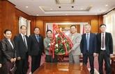 Vœux laotiens à l'occasion du 89e anniversaire de la fondation du PCV