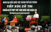 Le Premier ministre Nguyên Xuân Phuc rencontre des électeurs du district de Thuy Nguyên (Hai Phong)