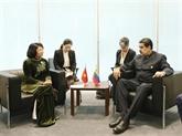 La vice-présidente Dang Thi Ngoc Thinh rencontre des dirigeants étrangers