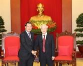 Le dirigeant Nguyên Phu Trong reçoit le Premier ministre cambodgien Hun Sen