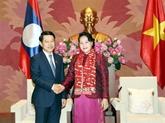 La présidente de l'Assemblée nationale reçoit le ministre laotien des Affaires étrangères