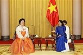 Dang Thi Ngoc Thinh reçoit une délégation de l'Association d'amitié RPDC - Vietnam