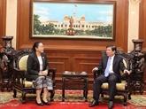 Le maire de Hô Chi Minh-Ville reçoit la nouvelle consule générale du Laos