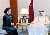 La présidente de l'AN Nguyên Thi Kim Ngân rencontre le PM qatari