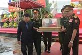 Hà Tinh: inhumation des restes des volontaires tombés au Laos