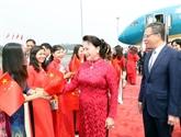 La présidente de l'Assemblée nationale Nguyên Thi Kim Ngân arrive à Pékin