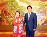 La présidente de l'AN du Vietnam s'entretient avec son homologue chinois