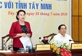 La présidente de l'AN travaille avec les autorités de Tây Ninh