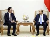 Le Premier ministre vietnamien reçoit l'ambassadeur cambodgien sortant