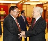 Nguyên Phu Trong reçoit son homologue laotien Bounhang Vorachith