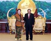 Nguyên Thi Kim Ngân s'entretient avec Bounnhang Vorachith à Vientiane
