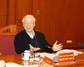 Nguyên Phu Trong demande de peaufiner les documents du XIIIe Congrès national du Parti