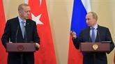 Poutine et Erdogan discutent du coronavirus et de la Syrie par téléphone