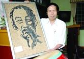 Un portrait de l'Oncle Hô en graines de haricots et du riz