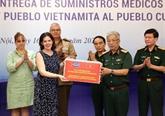 Le ministère vietnamien de la Défense fait don de fournitures médicales à Cuba