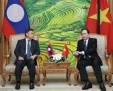 Le président du Front de la Patrie du Vietnam reçoit son homologue lao
