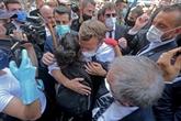 Le président français Macron à Beyrouth après le drame