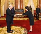 Le secrétaire génénal du Parti et président de la République, Nguyên Phu Trong, reçoit de nouveaux ambassadeurs étrangers