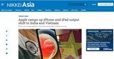 Nikkei Asia : Apple accélère le transfert de production vers le Vietnam