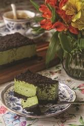 Cheesecake à la crème et au matcha