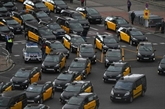 Les chauffeurs de taxis manifestent contre Uber à Barcelone