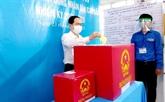 Le vice-président permanent de l'Assemblée nationale Trân Thanh Mân aux urnes