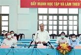 Le président Nguyên Xuân Phuc en tournée dans les districts de Cu Chi et Hoc Môn
