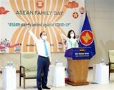 La cérémonie de salut au drapeau pour célébrer les 54 ans de l'ASEAN