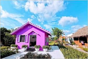 Maison violette dans la ville de Cân Tho