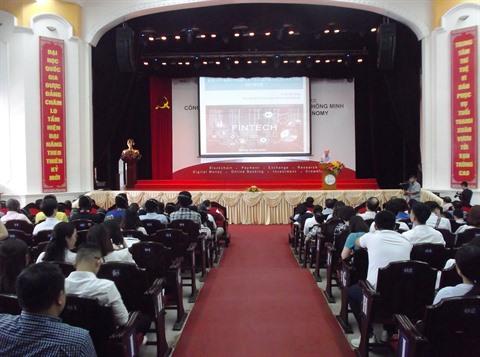Vue générale de la conférence internationale sur la Fintech à l'ère de l'économie intelligente, le 20 juin à Hanoï.