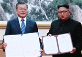 Moon et Kim s'engagent à dénucléariser la péninsule coréenne