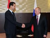 Les présidents syrien et russe se félicitent du 75e anniversaire de l'établissement des relations diplomatiques