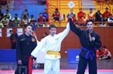 Les matchs de qualification du Pencak Silat lors des VIII<sup>es</sup> Jeux sportifs nationaux du Vietnam 2018 ont eu lieu le 22 novembre au stade de Tây Hô, à Hanoï. Photo: Minh Quyêt/VNA/CVN